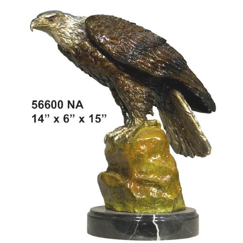 Perched Bronze Eagle Statue - AF 56600NA