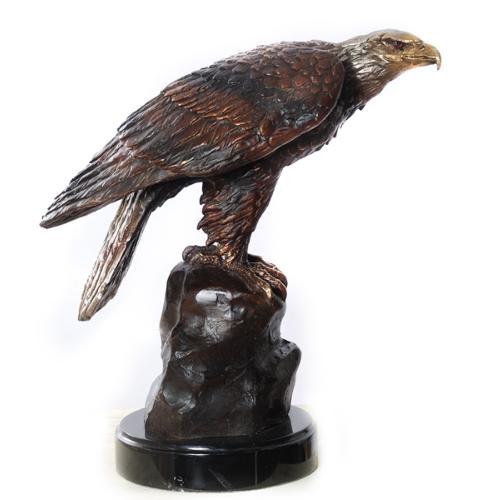 Perched Bronze Eagle Statue - AF 56600
