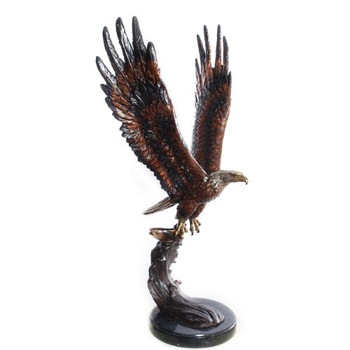 Bronze Eagle Marble Base Statue - AF 56604