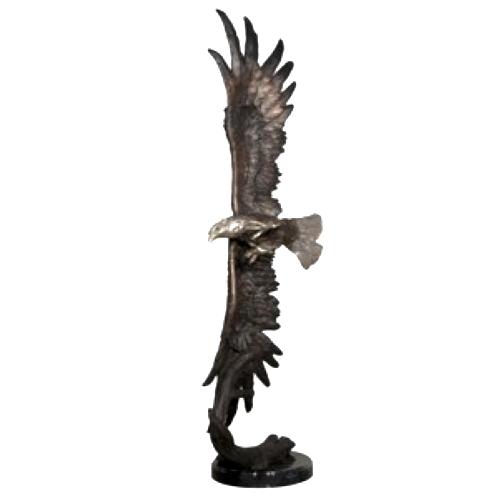 Bronze Soaring Eagle Statue on Marble Base - AF 56606