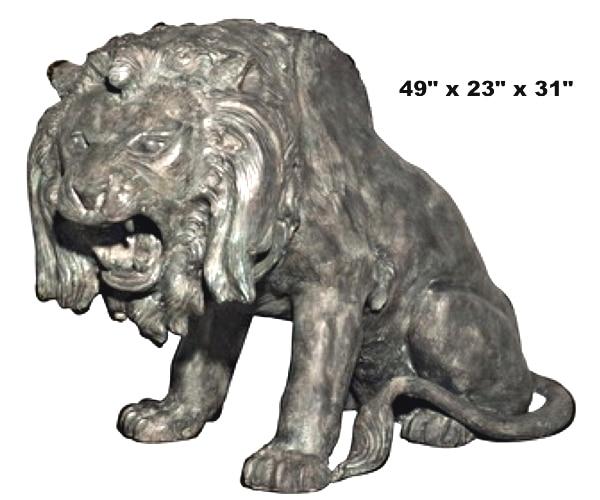 Bronze Growling Lion Statue - AF 56666GR