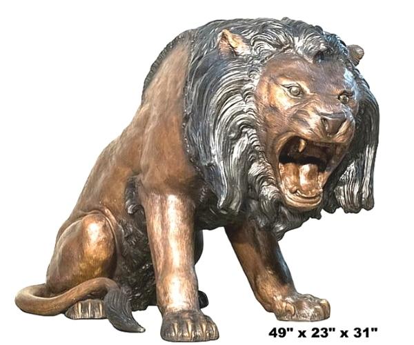 Bronze Growling Lion Statue - AF 56666TT