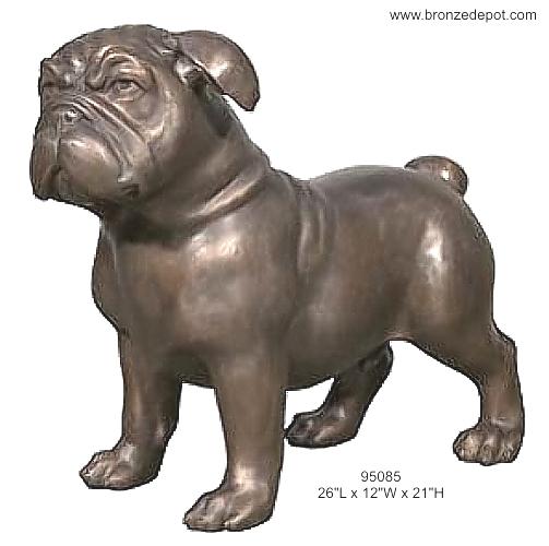 Bronze Bulldog Mascot Statue - AF 95085
