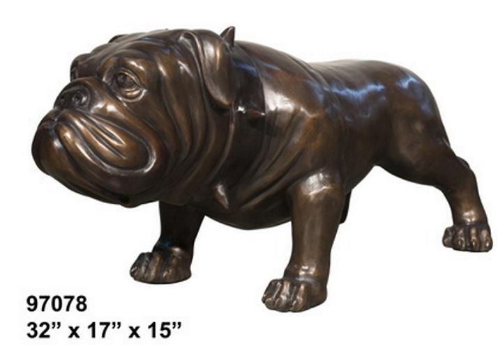 Bronze Bulldog Mascot Statue - AF 97078