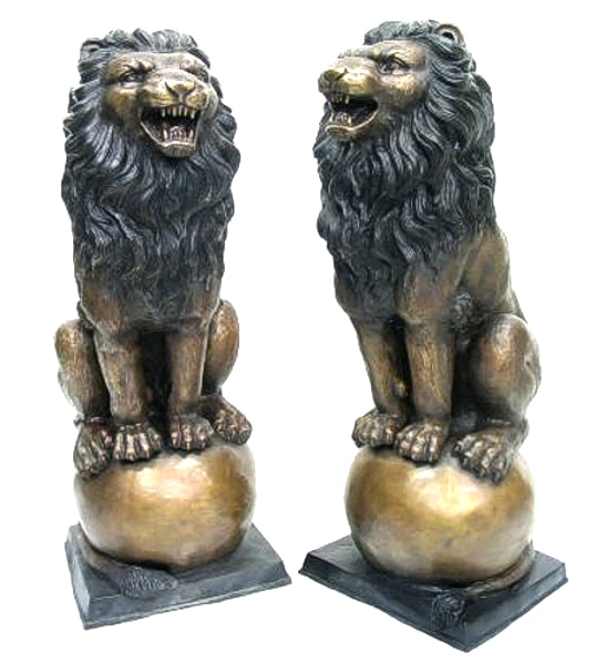 Growling Lions on Ball Bronze Statues - AF 54120 TT